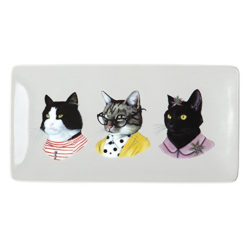 Berkley Bestiary Cat Portraits Rectangle Porcelain Tray