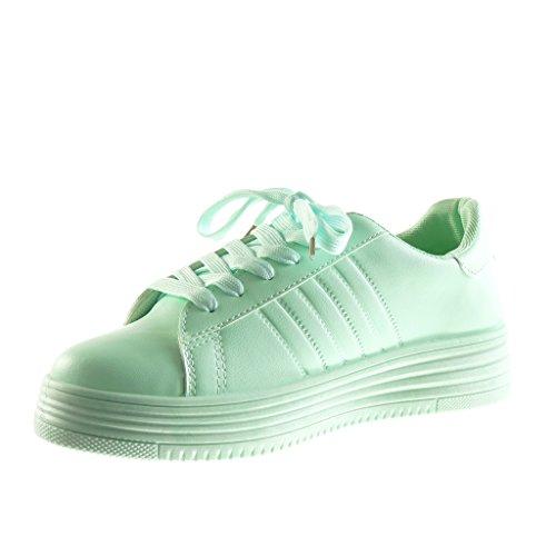 Angkorly - Zapatillas de Moda Deportivos Tennis zapatillas de plataforma low mujer acabado costura pespunte Talón Plataforma 3.5 CM - Verde