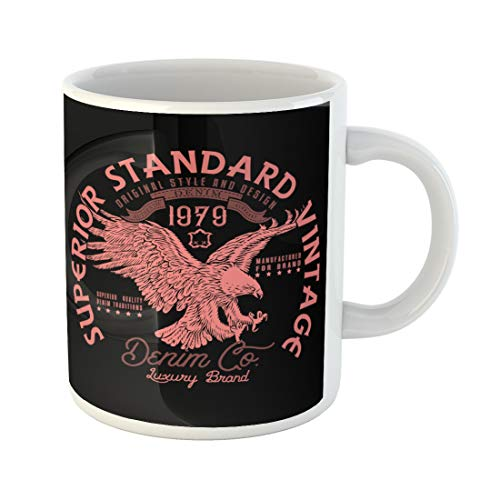 Emvency Funny Coffee Mug Eagle Superior Standard Vintage Denim Company Heritage Design Varsity Emblem 11 Oz Ceramic Coffee Mug Tea Cup Best Gift Or Souvenir