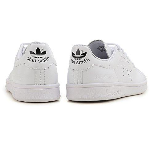 adidas Mens RAF Simons Stan Smith White/Black Leather Footwear White/Footwear White/Core Black 44RoxM