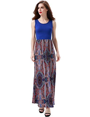 Aphratti Women's Bohemian Sleeveless Maxi Long Dress with Elastic Waistband X-Large Blue Print