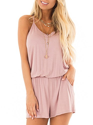 REORIA Womens Casual Summer One Piece Sleeveless Spaghetti Strap Playsuits Short Jumpsuit Beach Rompers Light Pink Small