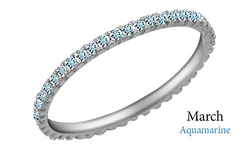 Simulated Aquamarine Eternity Stackable Wedding Ring in 10k White Gold (1/5 (Aquamarine White Gold Eternity Bands)
