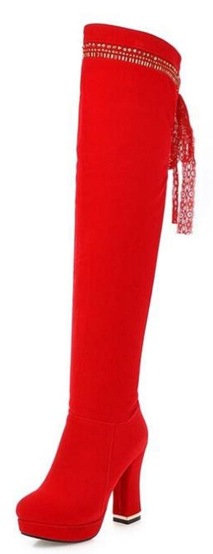 Easemax Damen Modisch Plateau Nubuk High Heels Stiefel Mit Absatz Rot