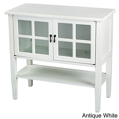 Heather Ann Creations Modern 2 Door Accent Console Cabinet with 4 Pane Glass Insert and Bottom Shelf Antique White