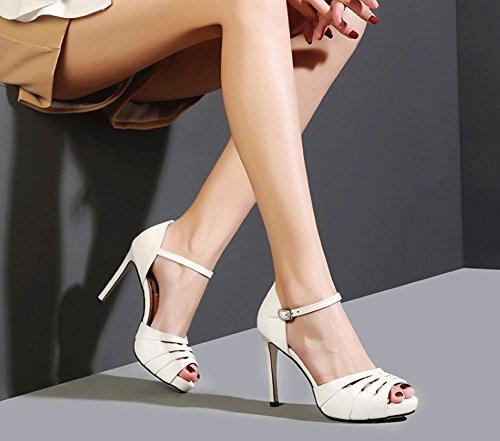 Femmes High à Style New Sexy en Cross Sweet JAZS® Heel Sandales pour Blanc Fashion Élégant Cuir Straps Mode Mouth Sexy la Fish Véritable Cross Slim 5qqf6