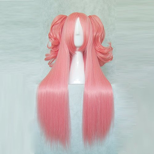 Price comparison product image Puella Magi Madoka Magica Kaname Madoka Pink 80CM Long Cosplay Wig + 2 Ponytails 35CM