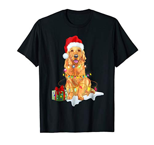 Santa Golden Retriever Christmas Lights Shirt Xmas Gift