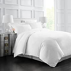 Egyptian Luxury Soft Brushed 1500 Series Microfiber Duvet Cover Set - Hotel Quality & Hypoallergenic with Zippered Closure & Matching Shams - King/California King - White