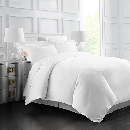 Egyptian Luxury Soft Brushed 1500 Series Microfiber Duvet Cover Set - Hotel Quality & Hypoallergenic with Zippered Closure & Matching Shams - Full/Queen - White