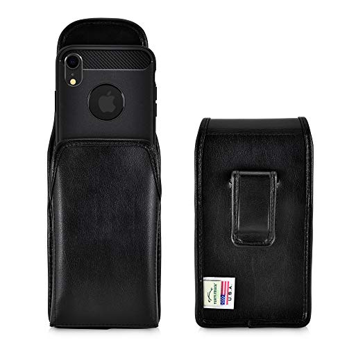 Turtleback Holster Designed for iPhone XR (2018) Vertical Belt Case Black Leather Pouch with Executive Belt Clip, Made in USA