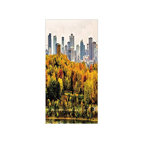 Decorative Privacy Window Film/Montreal Downtown Skyscrapers Autumn Various Trees Colorful Forest Urban Life Nature/No-Glue Self Static Cling for Home Bedroom Bathroom Kitchen Office Decor Multicolor -