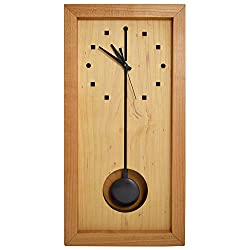 Modern American Made Rectangular Box Clock with Pendulum, Natural Cherry and Maple Wood, 16-Inch, Shelf or Wall