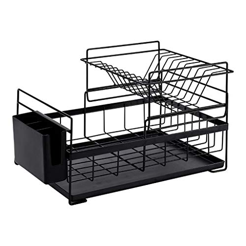 (Dishwasher Basket, Drier Drain Drain Stainless Steel With Dish Rack Home Kitchen 2 Layer Countertop Crockery Basket 2 Colors, 41.5 26.8 29cm (Color: BLACK) (Color : Schwarz, Size : -))