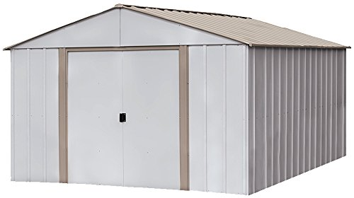 - Arrow Oakbrook High Gable Steel Storage Shed, Eggshell/Taupe, 10 x 14 ft.