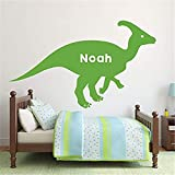 qenaud Wall Stickers Decal Removable Vinyl Decal Quote Art Hadrosaurus Dinosaur Personalized Name for Nursery Kids Room Bedroom