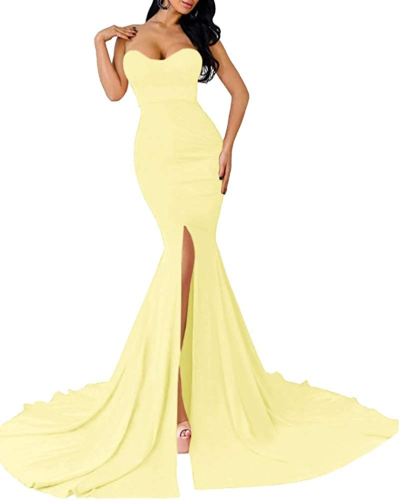 Daffodil MorySong Women's Mermaid Sweetheart Prom Dress Long Split Formal Evening Gown