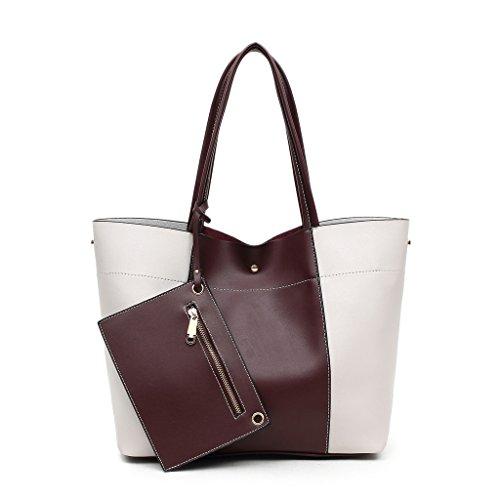 DDDH Leather Shoulder Handbags Claret red