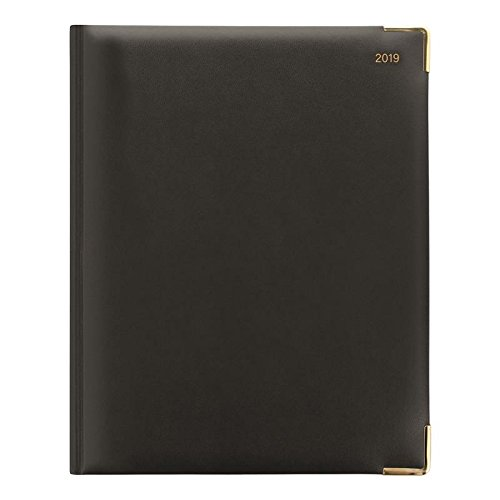 Letts of London for 2019 32YI-2019 Classic Desk Week to View Diary Quarto Black Cover Gilded Pages International Edition