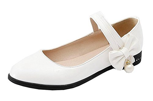 Soild Low WeiPoot Round White Women's Pumps Heels Toe Shoes Buckle Pu SZIF0qIwH