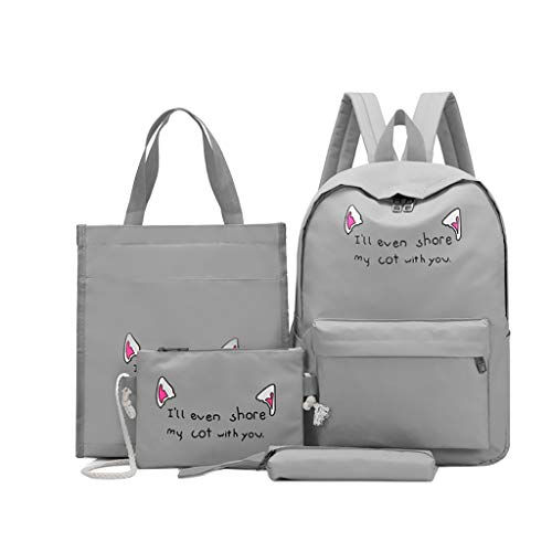 DDKK bags Hot 4pcs Cute Lightweight Teen Girls Canvas Backpack Set-Casual School Purse Shoulder Daypack-Handbag Crossbody Bag Rucksack(4 Colors) ()
