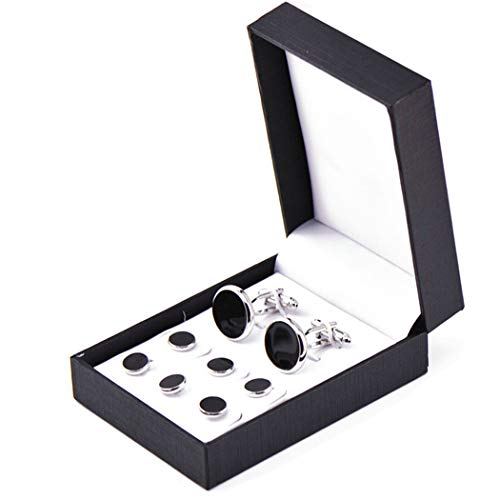 Zealmer Tuxedo Shirts Studs and Cufflinks Set for Business Wedding 2 Cufflinks 6 Studs