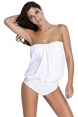 Huusa Womens Sexy Bandeau Blouson Tankini with Breifs 2pcs Swimsuit Bikini