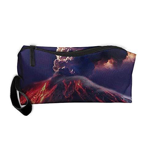 Portable Travel Cosmetic Toiletry Clutch Bag Organizer Case Oxford Volcano Eruption Artistic Illustration Storage Pouch (Volcano Oxford)