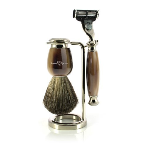 - Edwin Jagger Simulated Horn and Nickel Shaving Set, Brown/Cream