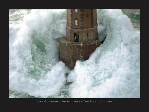 - La Jument Phares Dans La Tempete Lighthouse Photograph by Jean Guichard 31.5x23.5 Art Print Poster Wall Decor Famous Image Lighthouse with Crashing Wave Man Standing outside