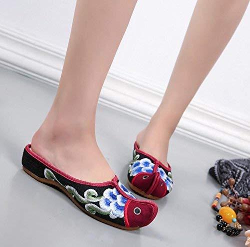 Bestickte Schuhe Sehnensohle ethnischer Stil weiblicher Flip lässige Flop Mode Bequeme lässige Flip Sandalen Schwarz 37 (Farbe   - Größe   -) 74df77