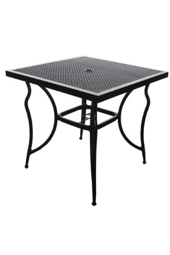 DC America SRT23534 Savannah Aluminum Rattan Square Table (Savannah Rattan Garden Furniture)