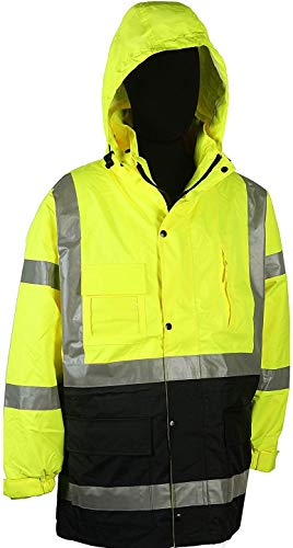 Safety Depot Two Tone Lime Yellow Black Reflective Class 3 Safety Parka Jacket With Zipper and Pockets 736c-3 (4XL)