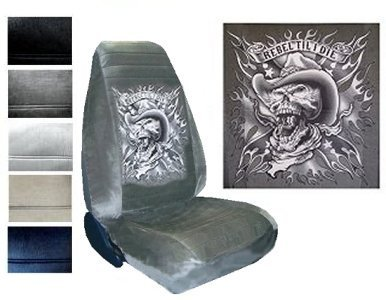 Seat Cover Connection Rebel Til I Die Skull print 2 High Back Bucket Car Truck SUV Seat Covers - Black Black Skull Car Seat Cover