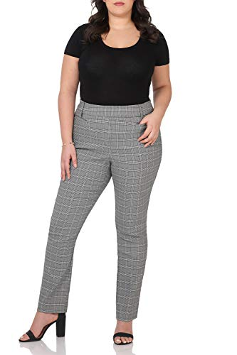 Rekucci Curvy Woman Ease into Comfort Plus Size Straight Pant w/Tummy Control (16W,Black/White Glencheck)