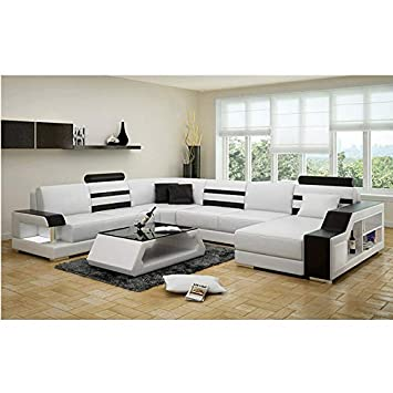 Lillyput High End White Leatherette Sofa Set With Center Table