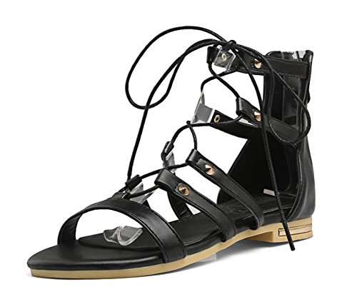 Aisun Donna Elegante Open Toe Gilly Cravatta Zip Up Gladiator Flats Stivali Sandali Scarpe Nere