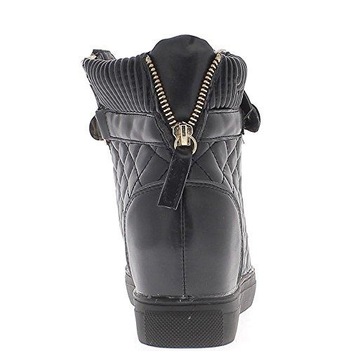 Baskets compensées montantes noires matelassées à talon de 7cm