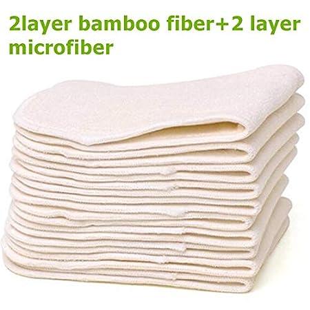 Bio-Bambus wiederverwendbar 10 St/ück Simfamily Baby Stoffwindeleinlagen