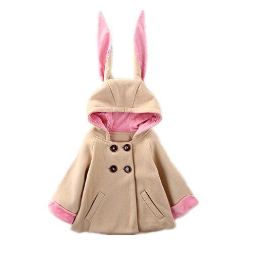 Ears Bunny Regular (Birdfly Toddler Girls Cute Winter Warm Coat with Extra Long Bunny Ears Double-Breasted Cloak Hooded Jacket Outwear (4T, Camel))