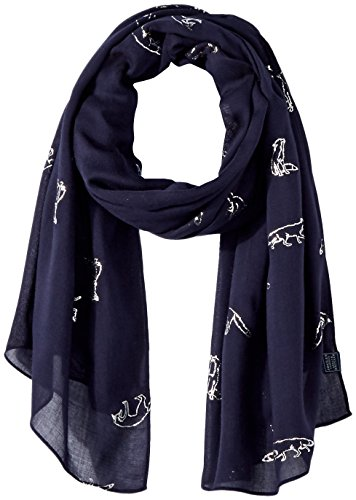 Joules Womens/Ladies Orna Foil Printed Light Fashion Scarf French Navy Fox Print