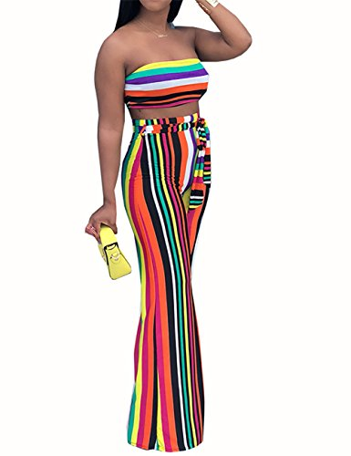 (Violet loverWomen's Sexy 2 Pieces Outfits Stripe Bandeau Top and Wide Long Pant Set Jumpsuit Rompers Clubwear)