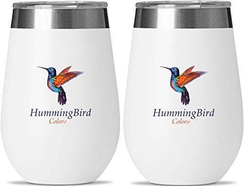 Insulated Wine Glasses by HummingBird Colors -Stainless Steel Tumbler Set of 2 with Double Wall Vacuum Insulation -Powder Coated -BPA Free Shatterproof Lid for Camping Beach and Outdoor Travel
