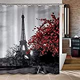 red bathroom ideas Uphome 72 X 78 Inch Waterproof Grey Paris Eiffel Tower Custom Bathroom Shower Curtain - Cityscape Red Flower Polyester Fabric Bathroom Curtain Ideas