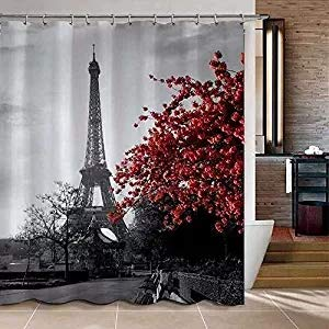 Uphome 72 X 78 Inch Waterproof Grey Paris Eiffel Tower Custom Bathroom Shower Curtain - Cityscape Red Flower Polyester Fabric Bathroom Curtain Ideas