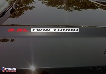 3.5L [Red] Twin Turbo [Gloss Black] Hood Vinyl Decal Emblem Ford