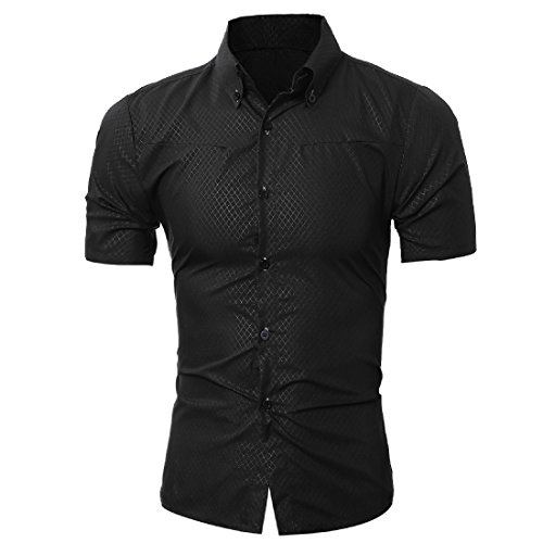 SportsX Men's Plus Size Premium Business Short Sleeve Dress Shirt Black Medium