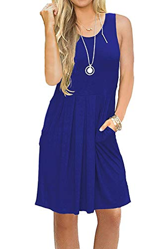 AUSELILY Women's Sleeveless Pleated Loose Swing Casual Dress with Pockets Knee Length (M, 01Royal Blue)