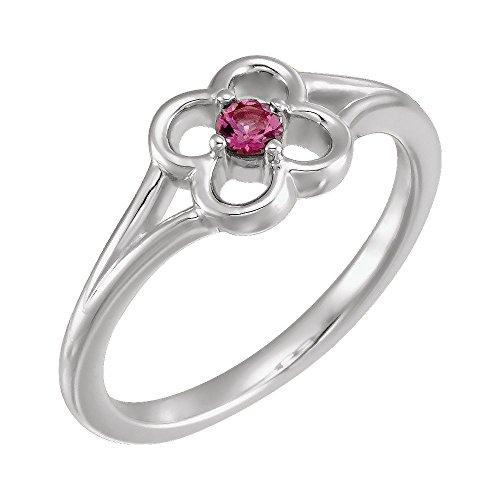 Bonyak Jewelry 14k White Gold Pink Tourmaline Flower Youth Ring - Size 3