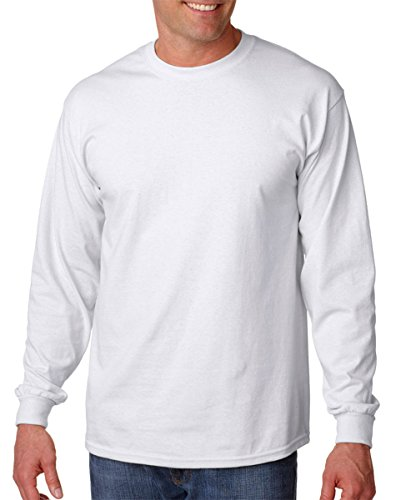 Gildan 2400 - Classic Fit Adult Long Sleeve T-shirt Ultra Cotton - First Quality - White - (Classic Adult White T-shirt)
